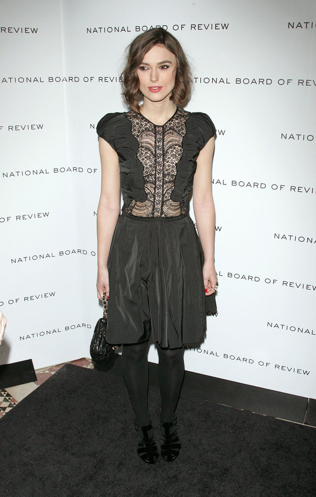 Keira Knightley showed off her black lace dress.