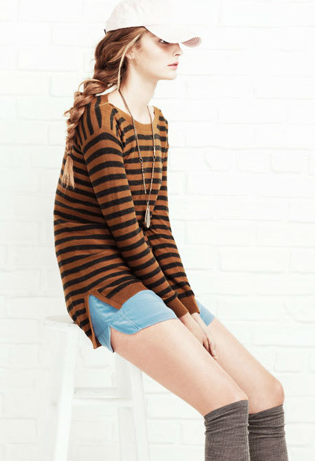 We're smitten with this striped tunic and the whole tomboy vibe.  Shop the look