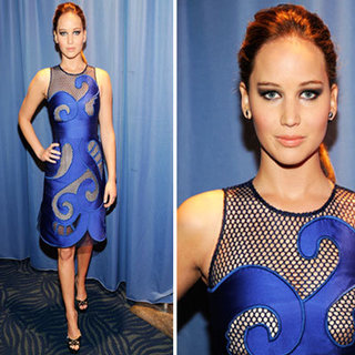 Jennifer Lawrence in Viktor & Rolf Blue Cut-Out Mesh Dress on the 2012 People's Choice Awards Red Carpet