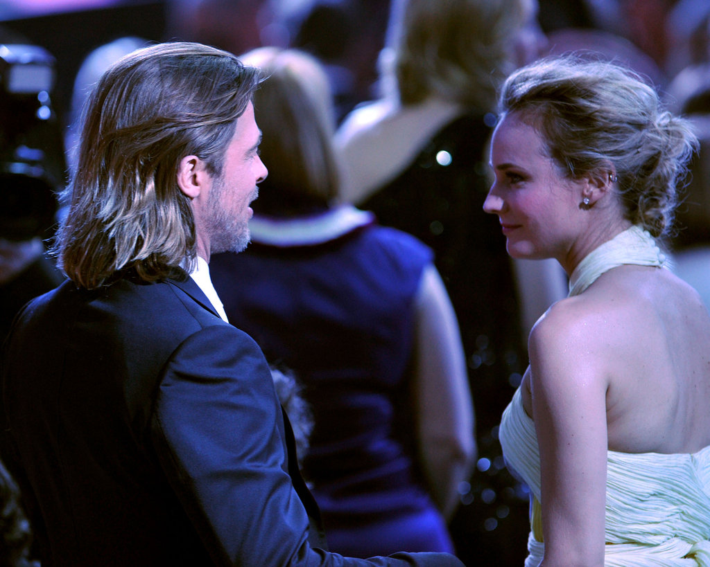Diane Kruger and Brad Pitt caught up at the 2012 Critics' Choice Movie Awards.