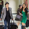 Nina Dobrev Carrying PCA In Dress at LAX With Ian Pictures