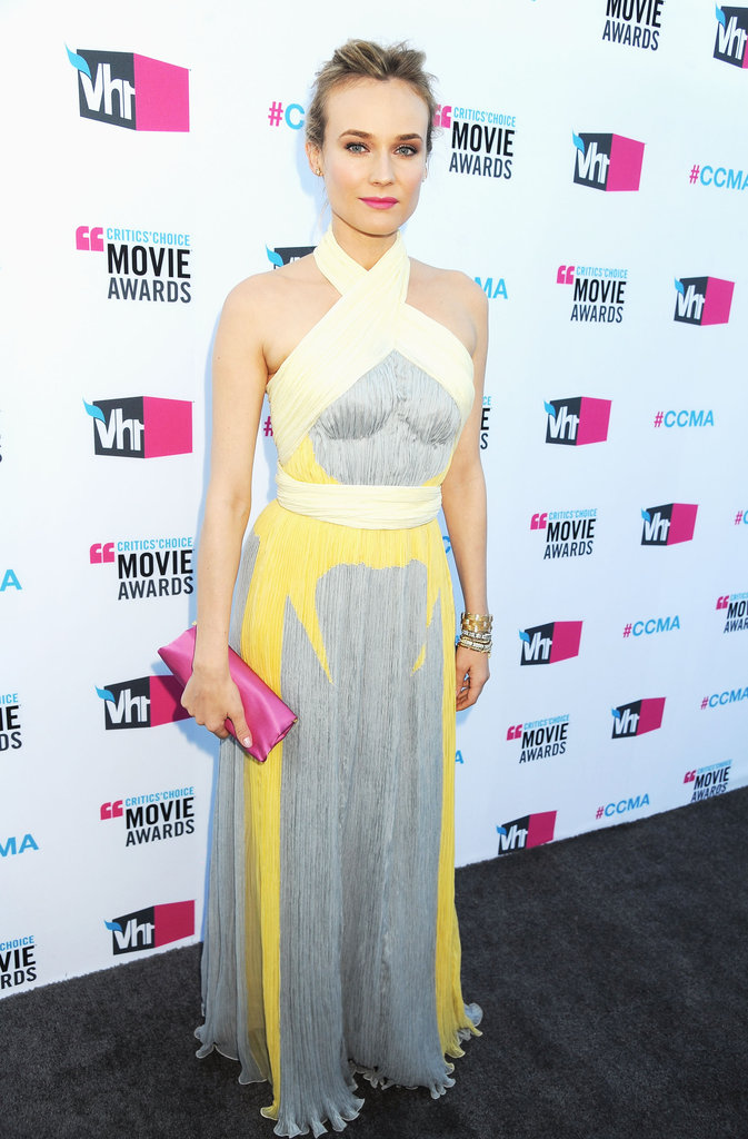 Diane wore a gray and yellow halter dress to the Critics' Choice Awards in LA.