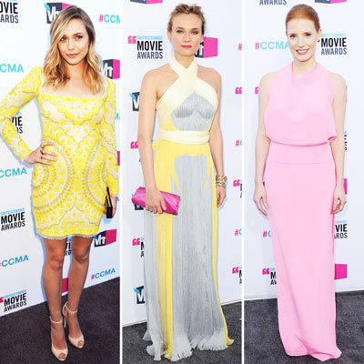 Pastel Coloured Dresses on the Red Carpet at the 2012Critics' Choice Awards