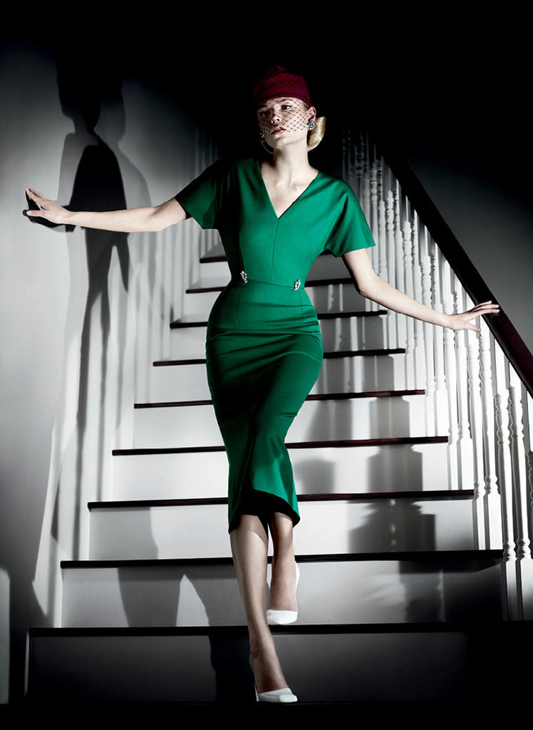This green Jil Sander cinched-waist dress is super retro, but totally feminine. Source: Fashion Gone Rogue