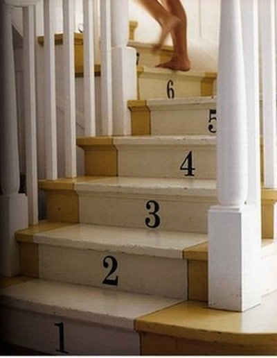 Painted stair runner with numbered steps. Source