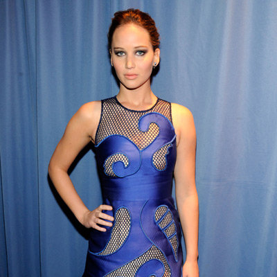 Jennifer Lawrence Blue Dress Pictures at 2012 People's Choice Awards