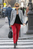 We're gushing over Bar Refaeli's slick red skinnies and blazer.