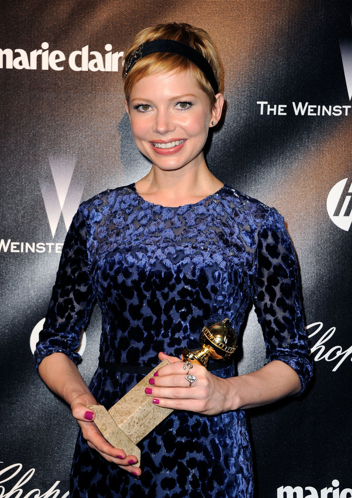 Michelle Williams held her Golden Globe.