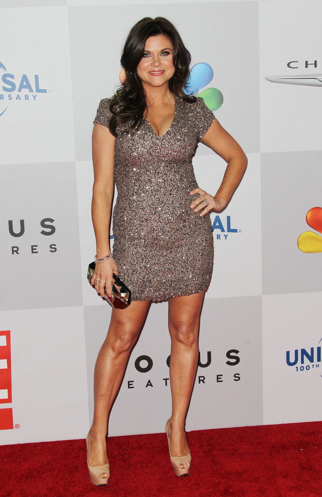 Tiffani Theissen posed on the NBC post-Golden Globes party red carpet.