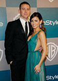 Channing Tatum holds wife Jenna Dewan close as they arrive at the InStyle party.