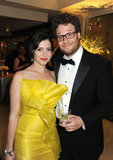 Seth Rogen and wife Lauren Miller keep close at HBO's soirée.
