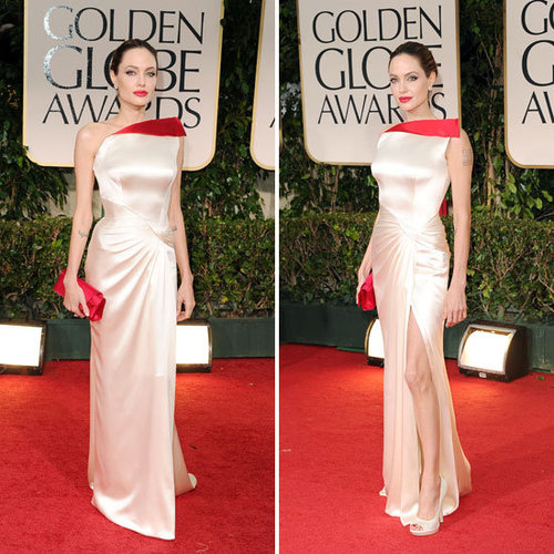 Angelina Jolie Wears Cream and Red Atelier Versace to the 2012 Golden Globes
