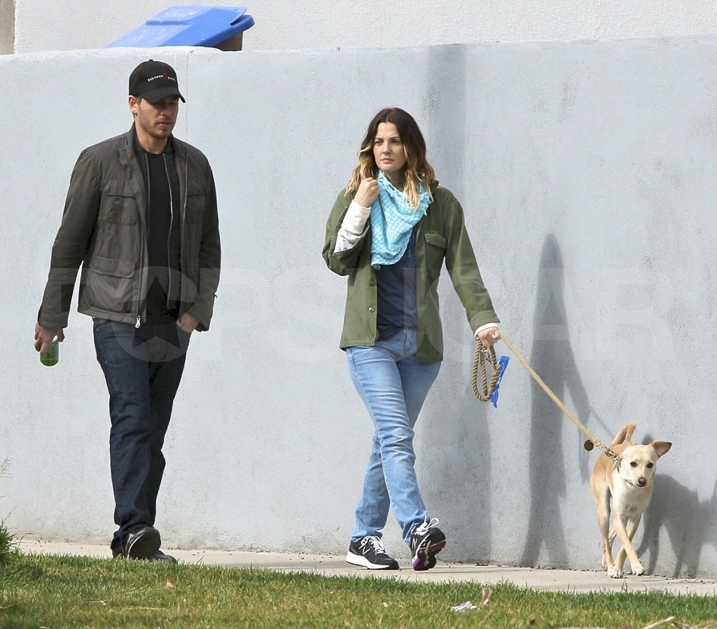 Drew Barrymore hung out in LA with her dog and fiancé Will Kopelman.