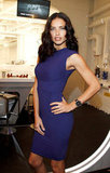 Adriana Lima ketp it cool in purple during the day.