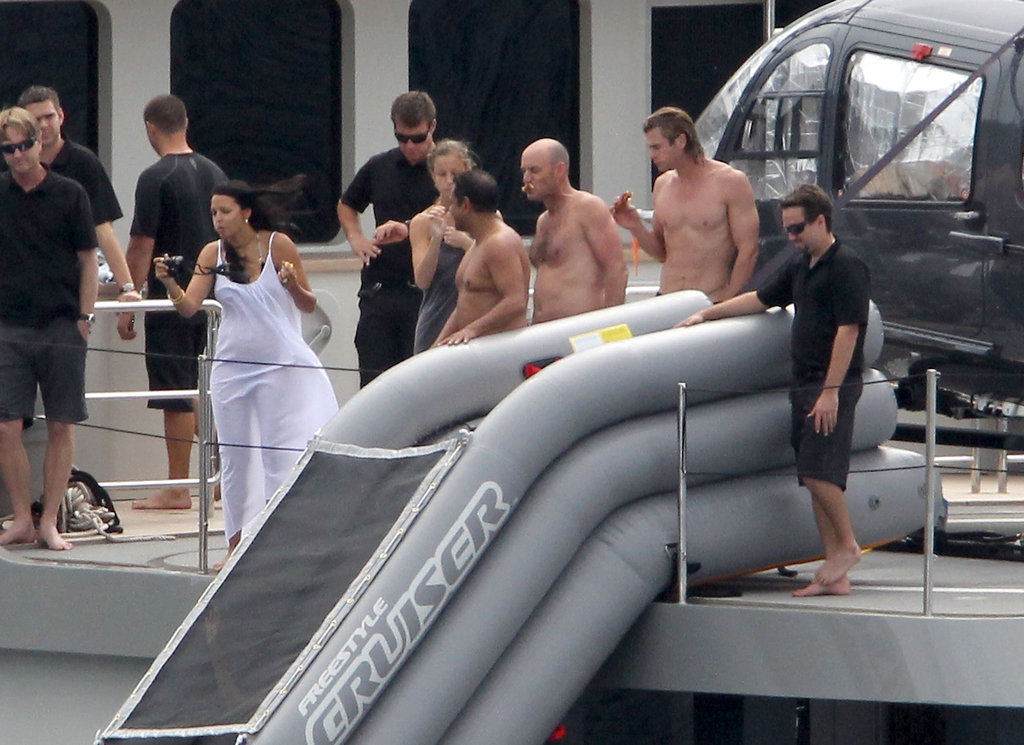 Chris Hemsworth on a yacht with friends.