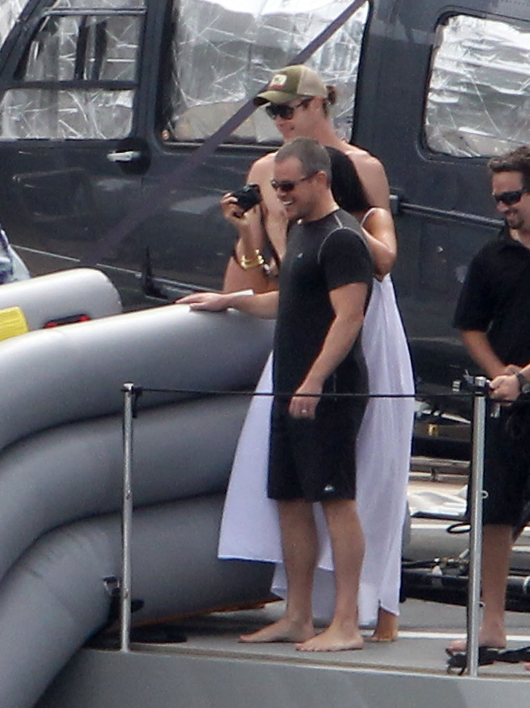 Matt Damon on a yacht with his wife.
