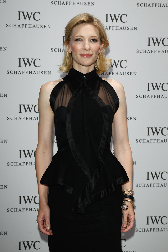 Cate Blanchett in a black dress.