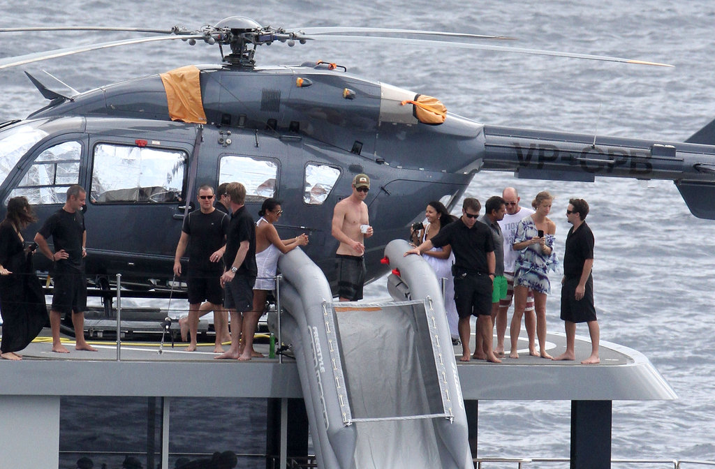 Matt and Luciana Damon, Chris Hemsowrth and Elsa Pataky hung out on a yacht.