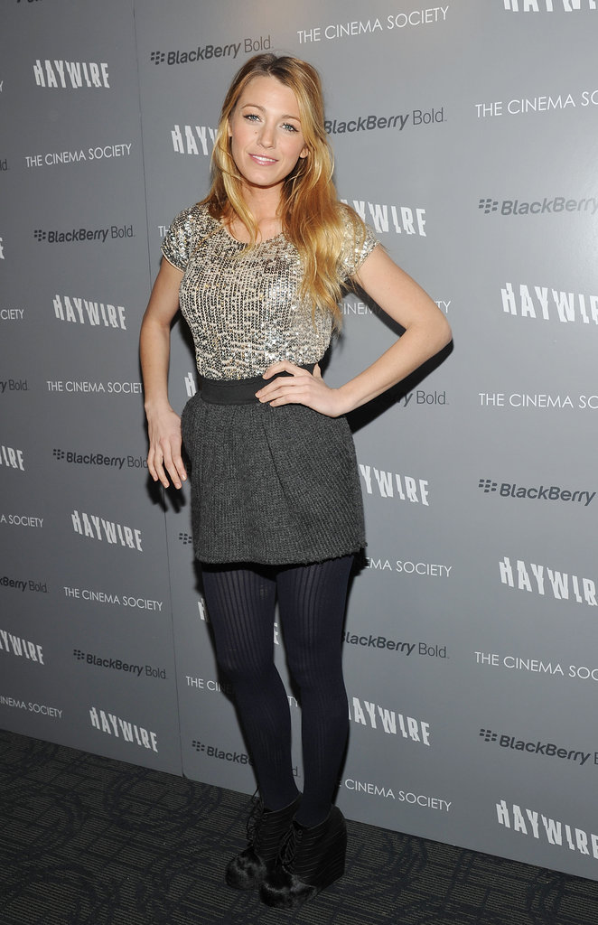 Blake Lively attended the NYC premiere of Haywire.