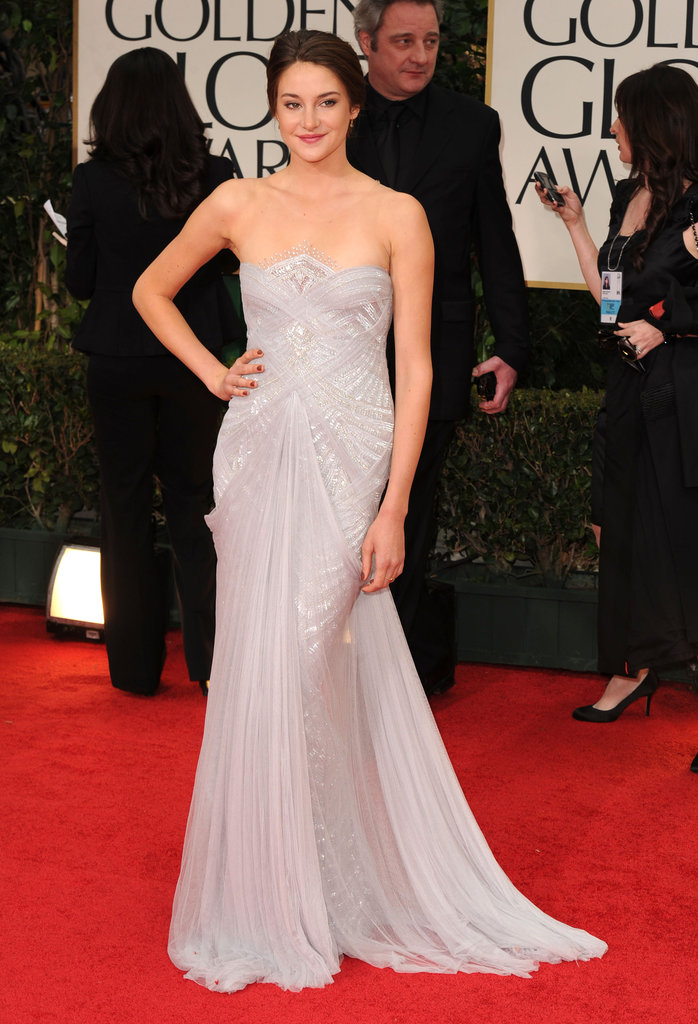 For the 2012 Golden Globes, Shailene pulled out all the stops in this breathtaking, soft lilac-colored Marchesa gown.
