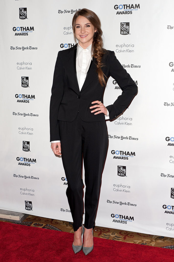 Shailene's spin on menswear: a Dolce & Gabbana suit with gray suede pumps and a long, sideswept fishtail braid.
