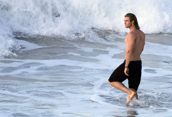 Chris Hemsworth was shirtless in St. Barts.