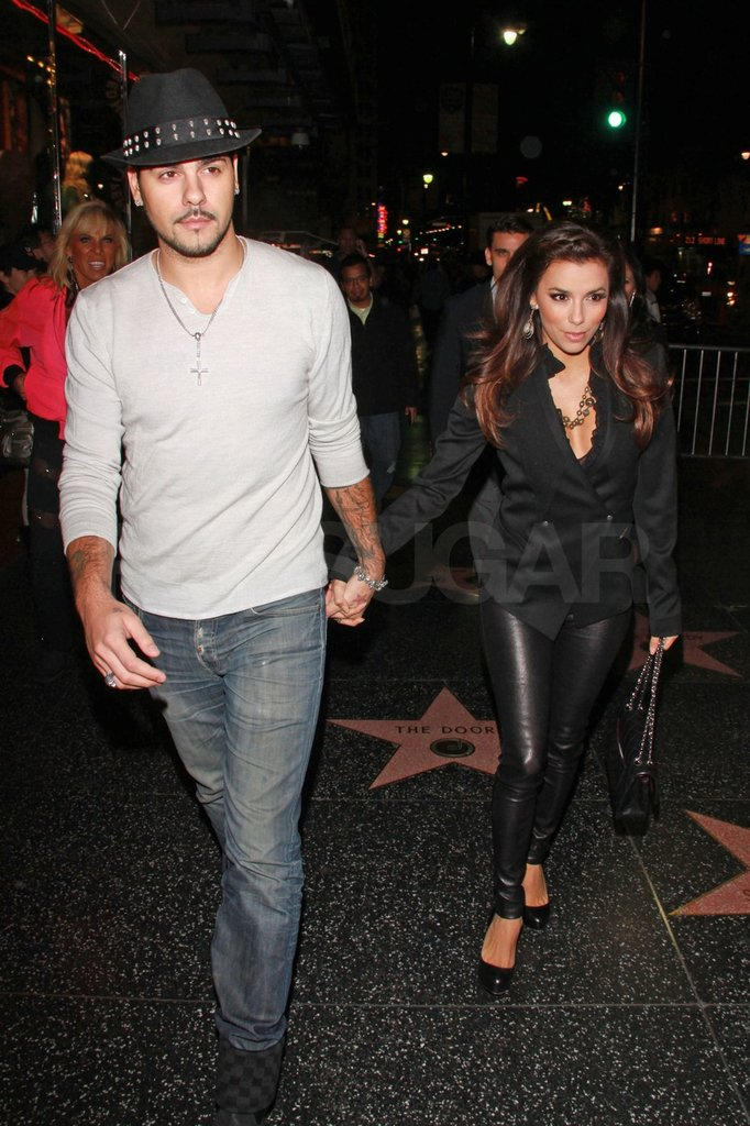Eva and Eduardo held hands on Hollywood Blvd.