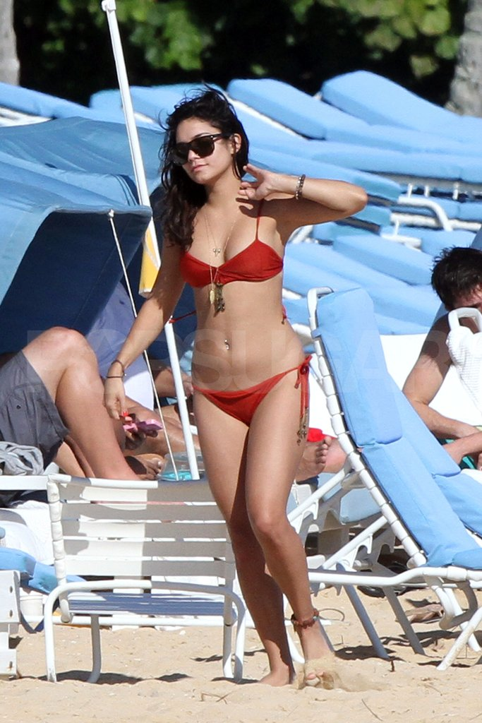 Vanessa Hudgens Wears a Little Red Bikini For a PDA-Filled Beach Day!