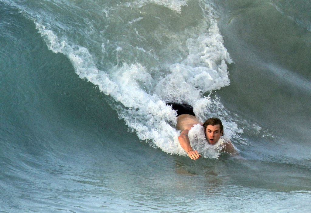 Chris Hemsworth bodysurfed in St. Barts.
