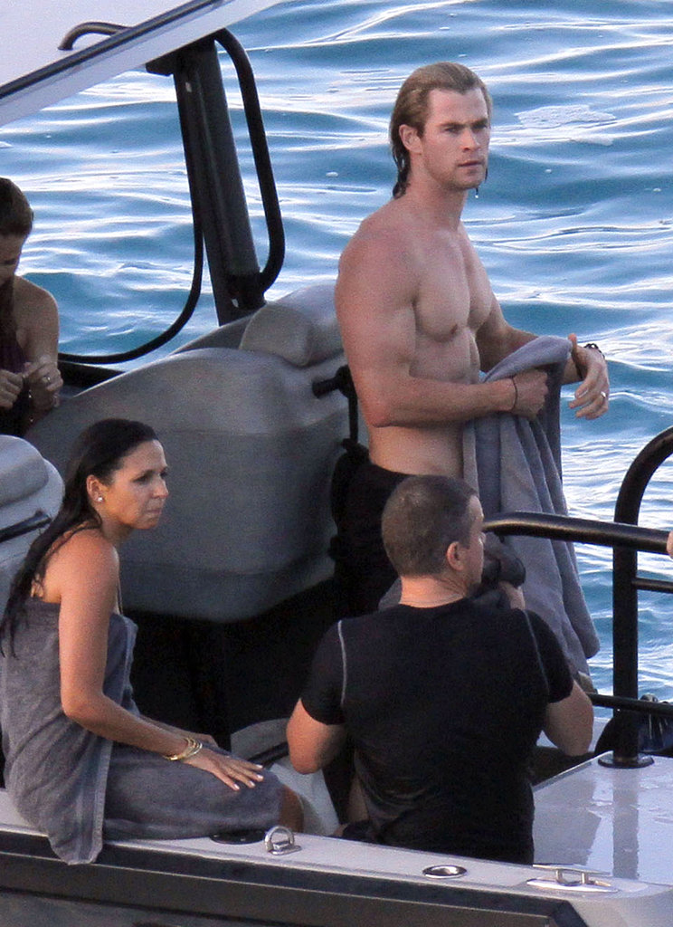 Chris Hemsworth was shirtless for a boat ride.