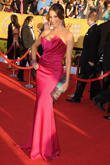 Sofia Vergara looked gorgeous in strapless Marchesa.