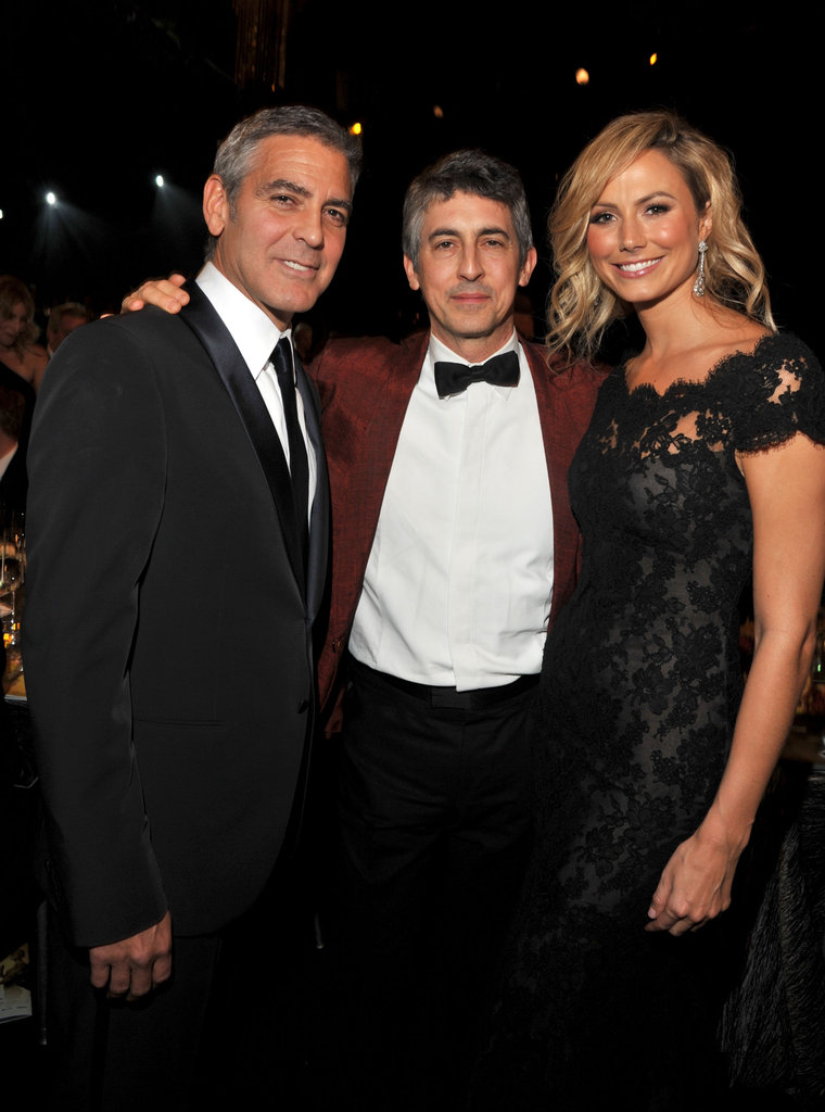 George Clooney and Stacy Keibler posed with Alexander Payne.