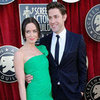 Emily Blunt in Green Oscar de la Renta Pictures With John Krasinski at 2012 SAG Awards