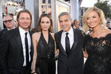 Brad and Angelina Buddy Up With George and Stacy on the SAGs Red Carpet