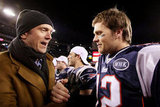 Tom Brady chatted after a Patriots game.