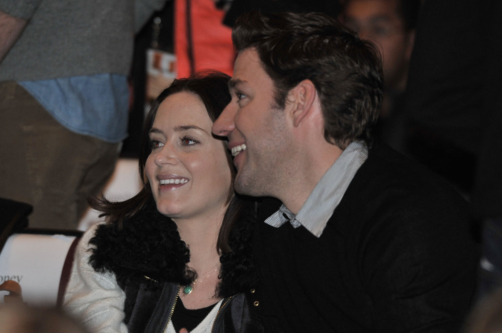 John Krasinski and Emily Blunt took their seats at the screening.