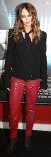 Vanessa Paradis in Red Leather J Brand Pants