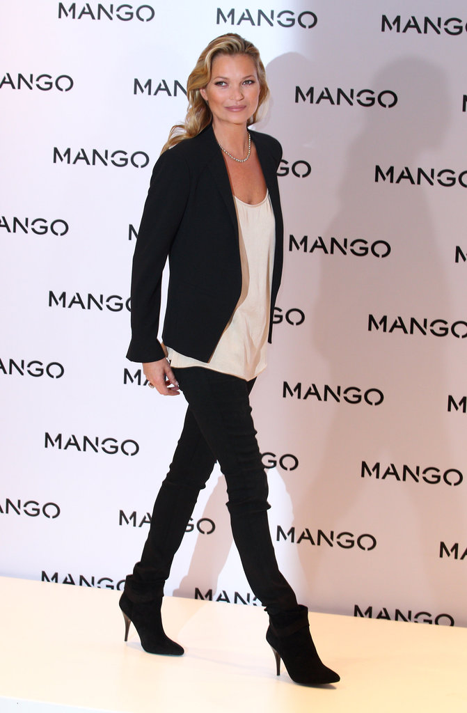 Kate Moss struck a pose at a Mango event.
