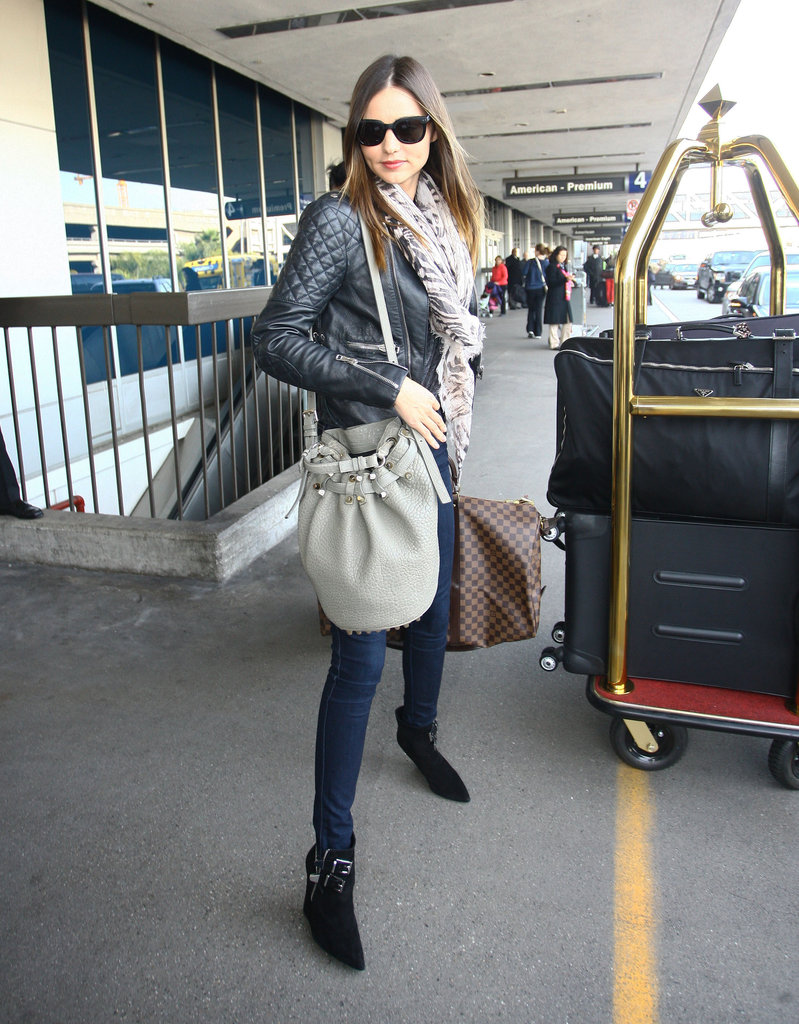 Miranda Kerr wearing a leather jacket.