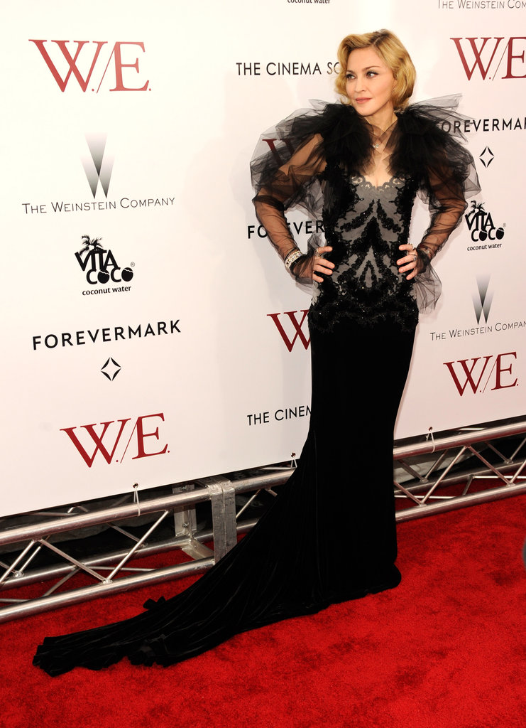 Madonna wore a black Marchesa dress to the NYC premiere of W.E.