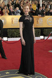 Nicole Kidman exuded black lace elegance in a slim, floor-length Nina Ricci gown and Manolo Blahniks in 2011.