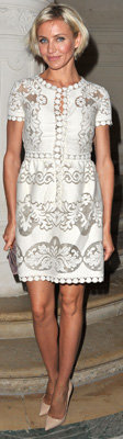 Cameron Diaz in White Lace Dress in Paris