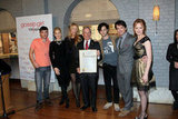 Ed Westwick, Stephanie Savage, Kelly Rutherford, Blake Lively, New York City Mayor Michael R. Bloomberg, Penn Badgley, Matthew Settle, Kaylee DeFer, and Josh Safran attended the Mayoral Proclamation in celebration of Gossip Girl's 100th episode at Silver Cup Studios in NYC.