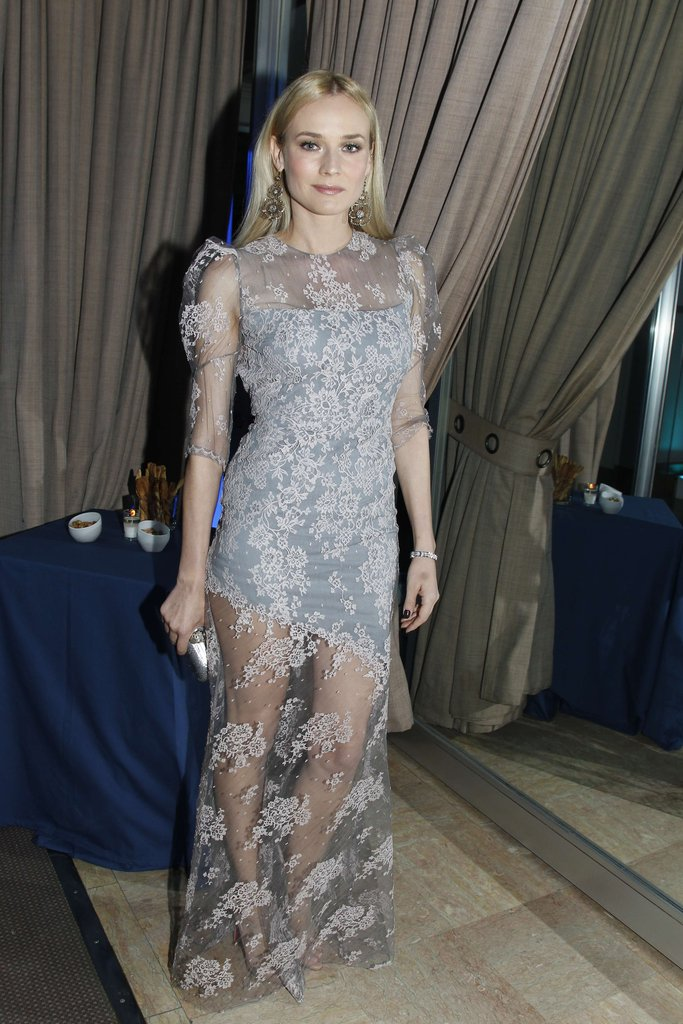 Diane Kruger posed in purple Erdem.