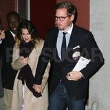 Drew Barrymore amd fiancé Will Kopelman left The Colbert Report studios.