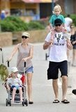 Naomi Watts pushed Samuel in a stroller while Liev Schreiber carried Sasha on his shoulders.