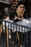Rachel Zoe laughed at lunch with son Skyler.