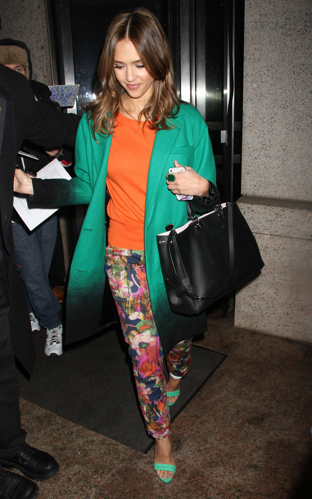 Jessica Alba punched up her Winter wear with bright, fitted floral trousers and a ombre-tinged Doo.Ri cocoon coat during a trip to NYC.