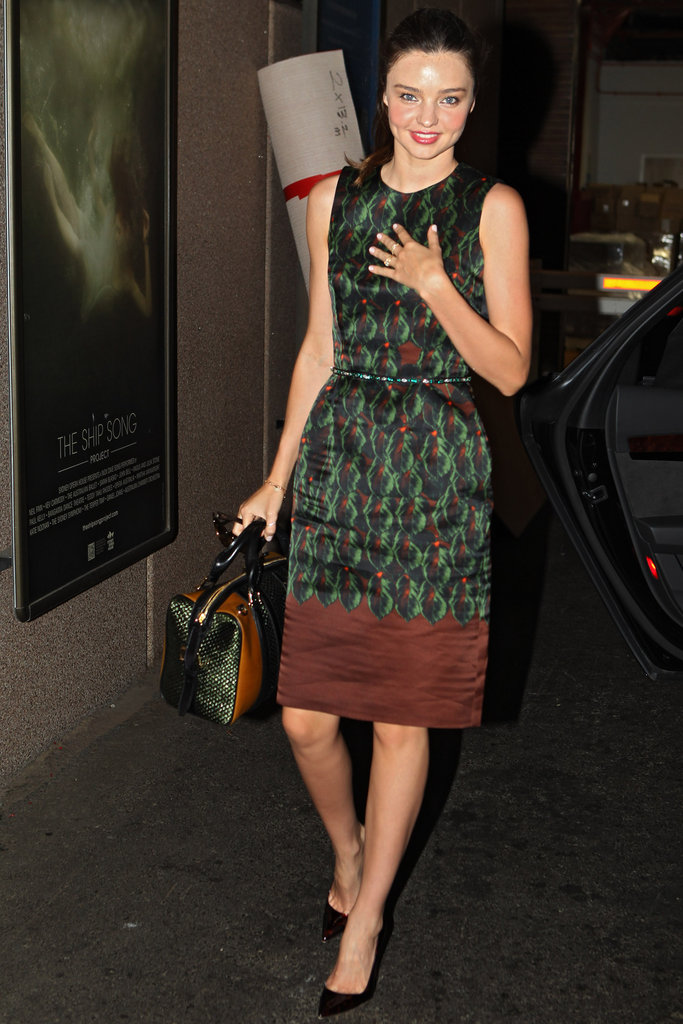 Miranda Kerr had a printed dress on in Sydney.