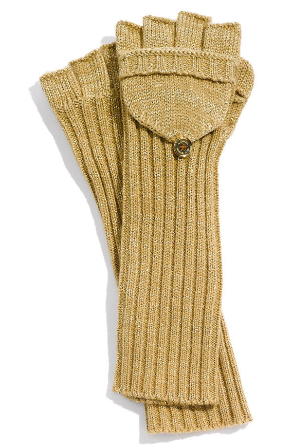 "The cool mustard yellow hue paired with the textured arm detail is a fashionable ""texting glove"" mix. MICHAEL Michael Kors Metallic Convertible Fingerless Glove ($38)"